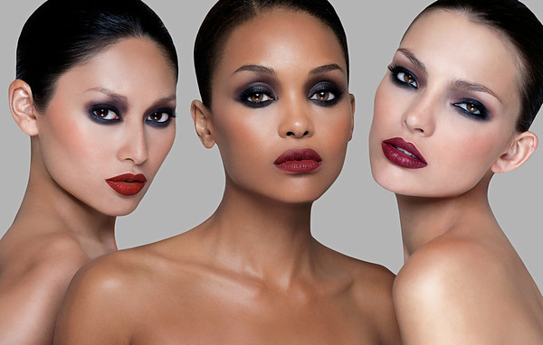 Three models with dark eyeshadow by Matthew Jordan Smith